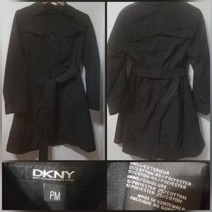Black DKNY trench coat